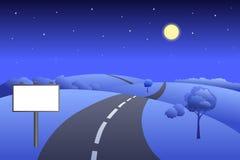 Landscape hills road billboard summer night illustration Stock Image