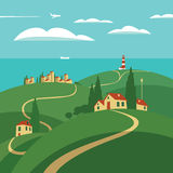 Landscape with hills and sea. Landscape with hills, roads and settlements, lighthouse and sea Royalty Free Stock Image