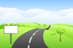 Landscape hills summer day road billboard illustration. Vector Royalty Free Stock Photos