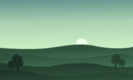 Landscape hills at the sunset vector Royalty Free Stock Photos