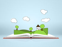 Landscape with hills and tree on open book. Illustration of green landscape with hills covered grass and tree on open book on blue background with clouds Stock Image