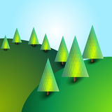 Landscape with hills and trees. Bright background. Bright sunny image Stock Photography