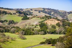 Landscape of the hills and valleys of Contra Costa county, east San Francisco bay area, California royalty free stock photo