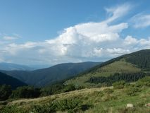 Landscape of hillsides in august. Carpathians mountains at summer, west Ukraine. Ukrainian nature background. White. Cumulus flowing above the green hillsides royalty free stock photography