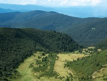 Landscape of hillsides, west Ukraine. Carpathians mountains at summer. Mountain ranges covered with green dense wood of. Firs. Ukrainian nature landscape in royalty free stock image