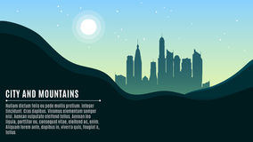 Landscape on the hilly mountains and the big morning city. Bright sun and stars on a turquoise sky. A place for your projects. Vec. Tor illustration in a flat Stock Photos