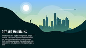 Landscape on the hilly mountains and the big morning city. A happy traveler waving his hands. A place for your projects. Vector il. Lustration in a flat style Stock Image