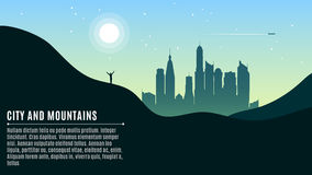 Landscape on the hilly mountains and the big morning city. The traveler waves his hands. A place for your projects. Vector illustr Royalty Free Stock Images