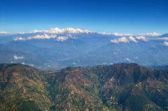Landscape in Himalaya Mountains from the plane Stock Photo