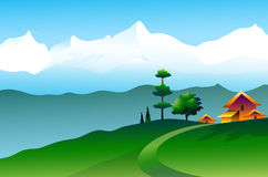 Landscape of Himalayas - Vector Illustration Royalty Free Stock Photos