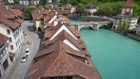 Landscape historical old town city and river on bridge Stock Images