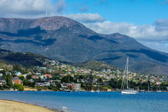 Landscape of Hobart and mount Wellington, Tasmania Australia Royalty Free Stock Photography