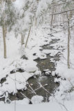 Landscape of the holiday season. Small creek of southern Quebec under the falling snow. Beautiful winter landscape, by a fairly pleasant temperature. It& x27;s Stock Photography