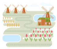 Landscape In Holland. Illustration of landscape with windmills and road between lakes and fields with wheat and tulips. Classic Dutch landscape. Traveling theme Royalty Free Stock Image