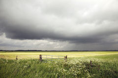 Landscape in holland with rain clouds an traffic sign Royalty Free Stock Image
