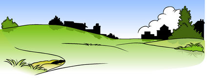 Landscape and Homes Silhouette Royalty Free Stock Images