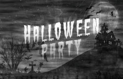 Landscape horror with Halloween party message for halloween background. Stock Photography