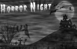 Landscape horror with Horror Night message for halloween background. Royalty Free Stock Photo