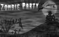 Landscape horror with Zombie Party message for halloween background. Royalty Free Stock Photography