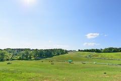 Landscape of horse ranch Stock Photos