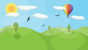 Landscape with Hot Air Balloon. A landscape with mountains, trees, birds, clouds and a colorful hot air balloon. No transparencies or gradients used Stock Photography