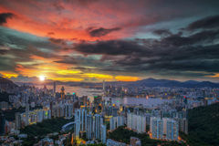 Landscape of Hot air Balloon over Hong kong sky Royalty Free Stock Images