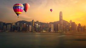 Landscape of Hot air Balloon over Hong kong Stock Images