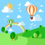 Landscape with hot air balloons, illustration in flat style Stock Image