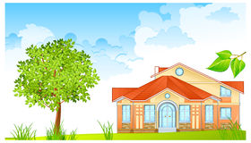Landscape with house Stock Photography