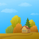 Landscape, House in Autumn Forest, Low Poly Stock Photos