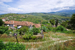 Landscape with house in Berat, Albania Royalty Free Stock Image