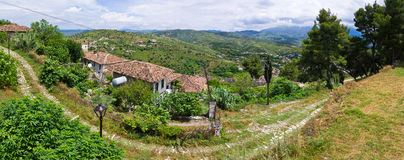 Landscape with house in Berat, Albania Stock Photos