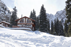 Landscape  house  cabin  mountain winter Royalty Free Stock Image