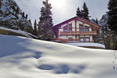 Landscape  house  cabin  mountain winter Stock Photo