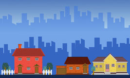 Landscape of house with city building. Vector art Royalty Free Stock Image