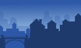 Landscape of house on the city silhouette. Vector illustration Royalty Free Stock Photos