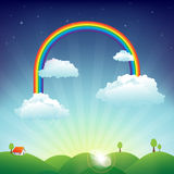 Landscape of house, hills and beautiful cloudy sky. House on the hills in sunny summer day with clouds and a rainbow all over the sky Royalty Free Illustration