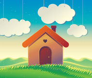 Landscape with a house and hills. Royalty Free Stock Images