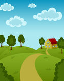 Landscape. With house and road Stock Photos