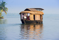 Landscape with houseboat in kerala backwaters Stock Images