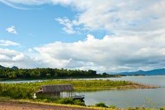 Landscape houseboat on lake Thailand Royalty Free Stock Images
