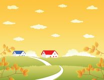Landscape with houses Stock Images