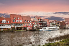 Landscape with houses on the banks of the river Pegnitz in Nuremberg, Germany Royalty Free Stock Photography