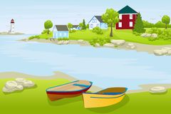 Landscape with houses and boats Royalty Free Stock Image