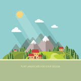 Landscape. Houses in the mountains among the trees. Flat style, Royalty Free Stock Image