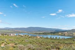 Landscape with houses overlooking the Clanwilliam Dam stock photos