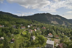 Landscape with houses at Rosia Montana, Romania, Europe Stock Images