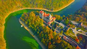 Landscape with houses and trees || A beautiful shot of a village on the river 2018 POLAND.  stock photos