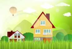 Landscape with houses Stock Photo