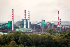 The landscape of a huge industrial city royalty free stock image